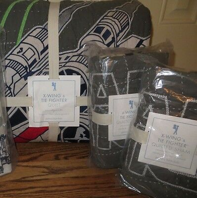 NWT Pottery Barn Kids Star Wars x-wing TIE fighter FQ quilt & 2 shams full xwing