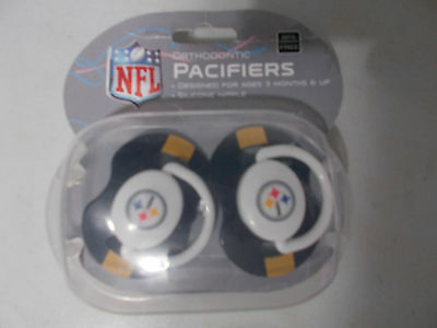 NFL Steelers Set of 2 Orthodontic Pacifiers, New in Package