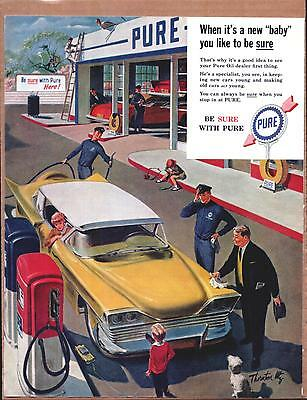 PURE OIL COMPANY 1959 Polishing Car In Gas Station   Color Promo Vintage   Ad