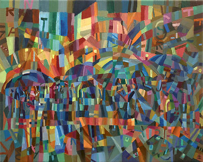 'Rainy City' Original Large Oil Painting on Canvas by Dusan Abstract Cubism