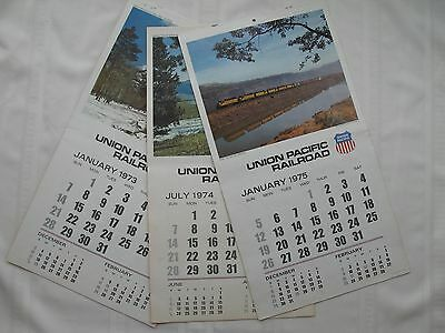 3 Vintage UPRR Union Pacific Railroad Wall Calendars 1973 1974 1975