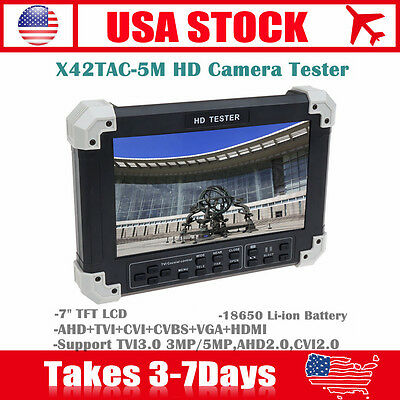 "7"" LCD Monitor HD-TVI+AHD+CVI+HDMI+CVBS Camera Video CCTV Tester UTP Control"