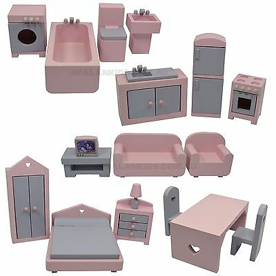 WOODEN DOLL HOUSE FURNITURE SET, 1/12th SCALE MINIATURE FURNITURE  18 PCS