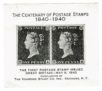 1940 USA - Tribute to First Postage Stamp - Great Britain One Penny