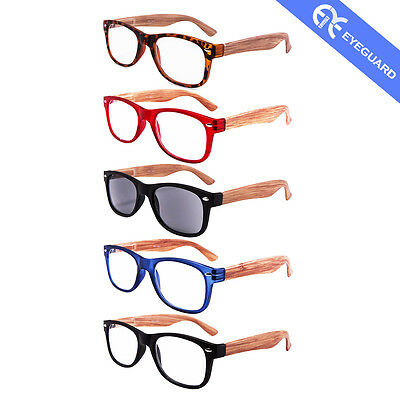 Sunglasses Sun Readers Wooden Looking Reading Glasses 5 Pairs /Pack SR-1601