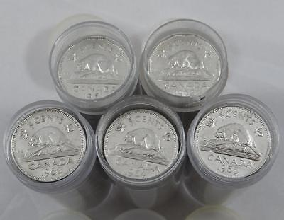 Canada 1961 1962 1963 1964 & 1965 40 Coin Circulated 5 Cent Nickel Rolls A0636