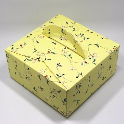 """5.5""""x5.5""""x2.5"""" Decorative Design Kraft Paper Box with Handle for Cake Gift Pack"""