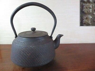 Japanese Antique KANJI old Iron Tea Kettle Tetsubin teapot Chagama 1005