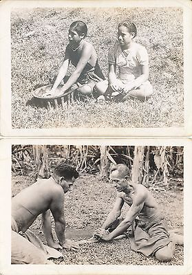 1945 WWII South Pacific  Chuuk islands, 2 Photos locals, guy & gals
