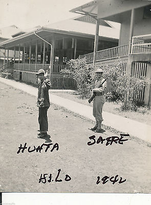 1942 WWII soldiers posing, hands up, rifle Hilo Hawaii Photo, Ken Huhta from MN