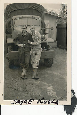1942 WWII two soldiers and large truck at race track at Hilo Hawaii,  Photo