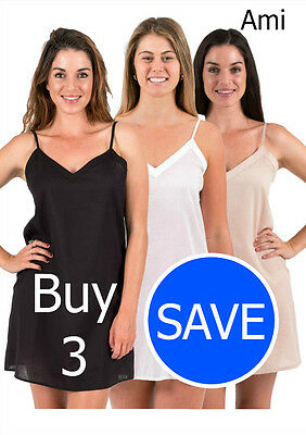 New Cotton Dress Slip Combination -  Ami Three Pack Black White Crema, XS - 3XL