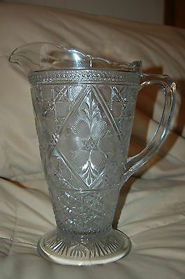 """10"""" Antique Over 100 Yrs. Heavy Ornate Cut? Pressed? Patterned? Glass Pitcher"""