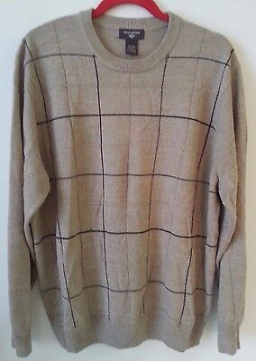 Dockers Mens Size XL Brown Tan Striped Geometric Long Sleeve Pullover Sweater