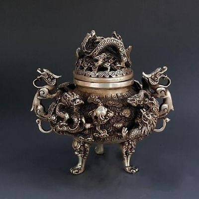China Tibet Exquisite Pure Silver 9 Dragon Beast Lion Head Incense Burner Statue