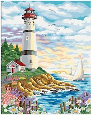 Painting by Number Kit (Framed) 40*50CM Lighthouse S2 KID DIY F004 STOCK