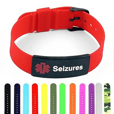 IDTAGGED SILICONE MEDICAL Alert Seizures Matte Black Tag ID Bracelet