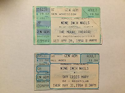 Lot Of Two Nine Inch Nails Ticket Stubs 1990 1994 Seattle Washington