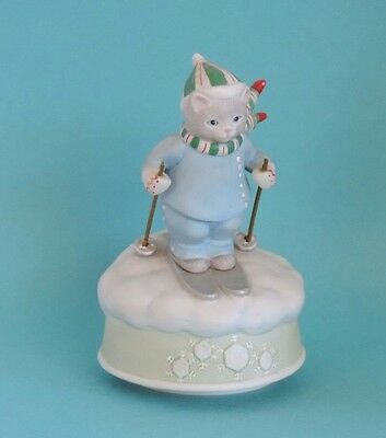 """1985 Vintage Schmid Kitty Cucumber Skiing Cat Music Box """"Let it Snow""""."""