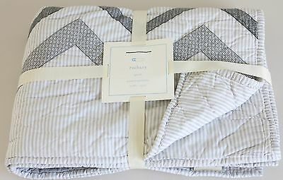 Pottery Barn Kids Zachary Chevron Nursery Bedding Quilt NWT Baby Boy or Girl