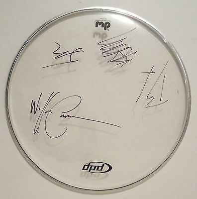 """William Control band REAL hand SIGNED 12"""" Drumhead all 4 COA Autographed Aiden"""