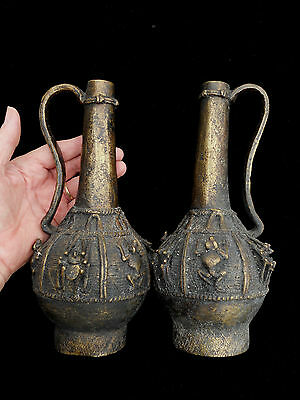 RARE!  TIKAR / BAMUN PAIR OF BRONZE FIGURAL REGAL FON DECANTERS from CAMEROON