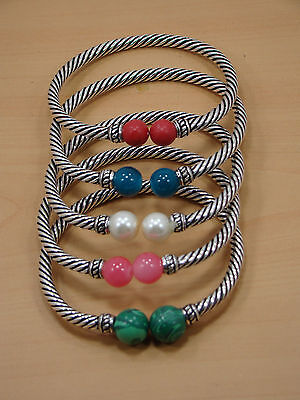 925 Silver Plated Wholesale 5 Pc Coral & Multi Stone Adjustable Bangle Lot