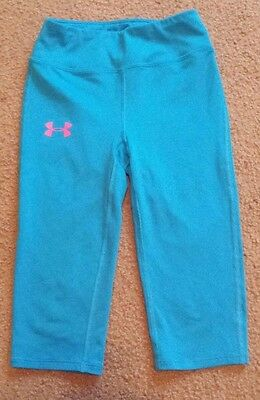 Youth Girls Under Armour Fitted Allseasongear Fitness Capris   Sz Ysm  **cute**