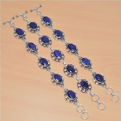 Wholesale Lot 3Pc 925 Sterling Silver Plated Faceted Blue Sapphire Nice Bracelet