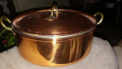 """VINTAGE 2 QT.COPPER 2 HANDLE POT with LID MADE IN PORTUGAL 8-3/8 X 3"""" FREE SHIP"""