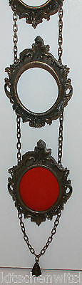 3 Miniature Brass Frames Ornate Oval Hanging Joined Chain Vintage Made in Italy
