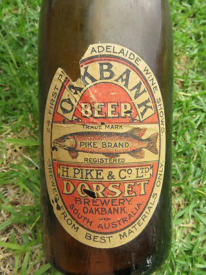 Rare Old H Pike Oakbank Brewery Beer Label On Pickaxe Bottle South Australia