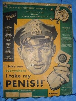 Old Vintage Condom Advertisement Tin Sign Board from England 1930