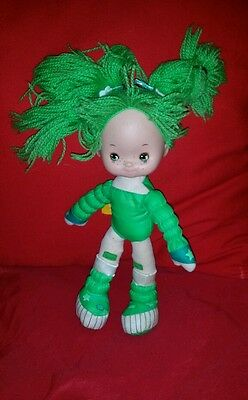 EUC Hallmark Poseable Patty O'Green Rainbow Brite Doll Green Yarn Hair Vintage