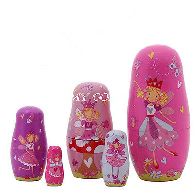 5x Dolls Wooden Angel Fairy Russian Babushka Matryoshka Nesting Pink kids Gift
