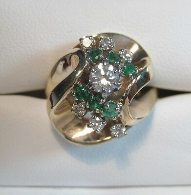 Estate Diamond and Emerald Cocktail and Evening Ring Custom Made