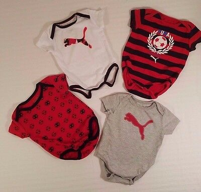 Baby Infant PUMA One-Piece Body Shirts Lot of 4 Boy Girl 0-3 months Soccer Theme