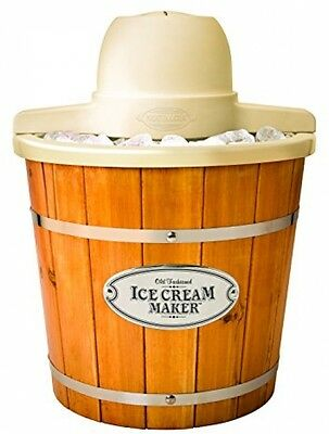 Nostalgia ICMP400WD Vintage Collection 4-Quart Wood Bucket Electric Ice Cream