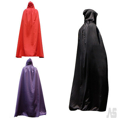 "Adults Long Hooded 65"" Cloak Fancy Dress Costume Outfit Cape Book Day Week UK"
