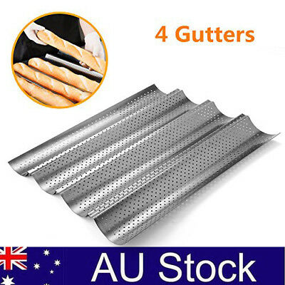 4 Non-stick Perforated Baguette Pan French Bread Pan Wave Loaf Bake Mold Silver