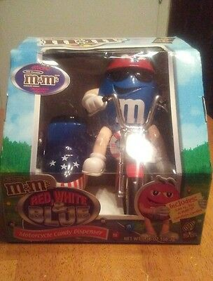 M&M's Red, White and Blue Motorcycle Candy Dispenser in Original Packaging