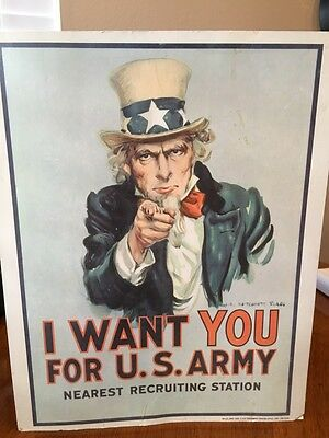 """Vintage 1978 Uncle Sam """"i Want You"""" U.s. Army Recruiting Poster, Man Cave"""