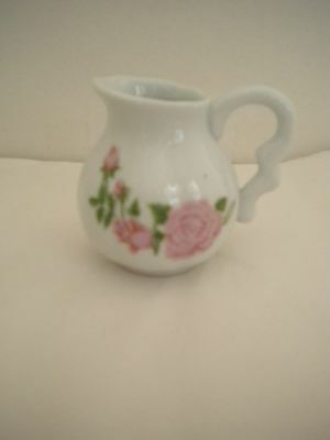 """Pink Roses Miniature Ceramic Pitcher Creamer White Background Unmarked 3"""""""
