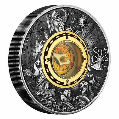 Tuvalu - 2017 - Compass 2oz Silver Antiqued Coin