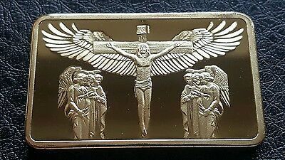 Stunning Quality Jesus Christ And Angles Gold Plated Bullion Bar