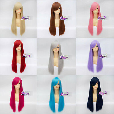 70cm 21 Colors Basic Long Cosplay Wig Party Hair Straight Anime + Free  Cap