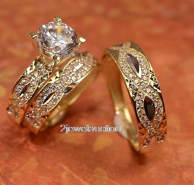 Diamond Wedding 14K Yellow Gold Trio His and Her Bridal Band Engagement Ring Set