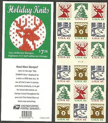 4218 4218b Holiday Knits ATM Booklet Unfolded PO Fresh Mint NH