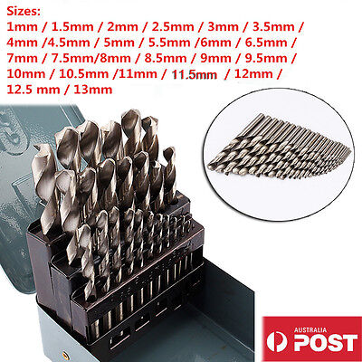 25pcs HSS High Speed Steel Metric Drill Bit Set Metal Case 1mm - 13mm Coated AU