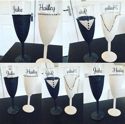 Personalised Bride And Groom Champagne Glasses